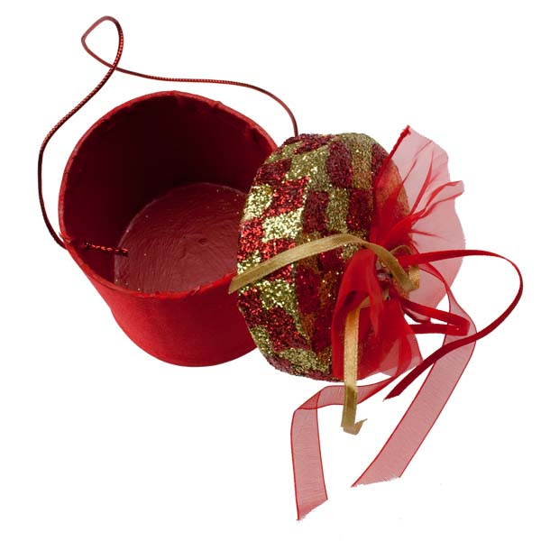 Red & Gold Round Gift Box Hanging Decoration - 7cm X 6cm