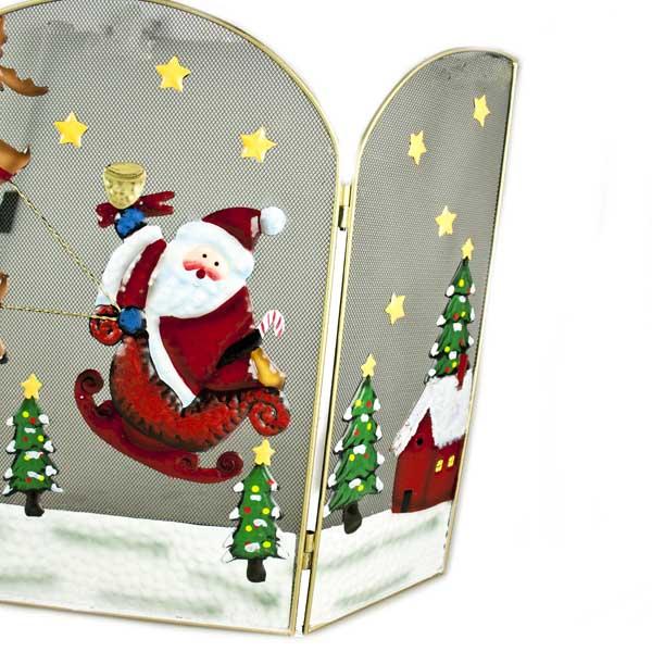 Santa & Reindeer Christmas Scene Fire Guard (035-27086-SAN)