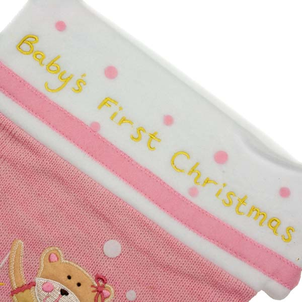 Gisela Graham Baby's First Christmas Pink Teddy Stocking - 40cm