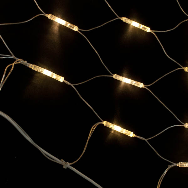 MK 2m X 1m 96 Warm White Indoor And Outdoor Static System 80 Connectable LED Net Light Clear Cable