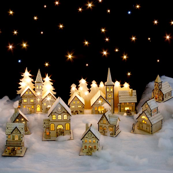Noma laser cut crafted wooden 1 white led indoor static for Home christmas decorations uk