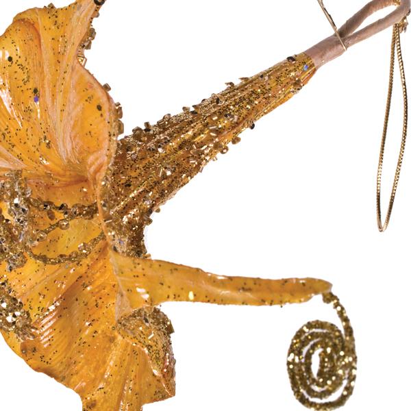 Gold Hanging Trumpet Flower Decoration - 15cm