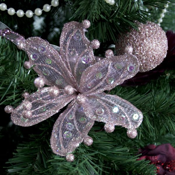 Pink Sheer Flower Clip - 20cm
