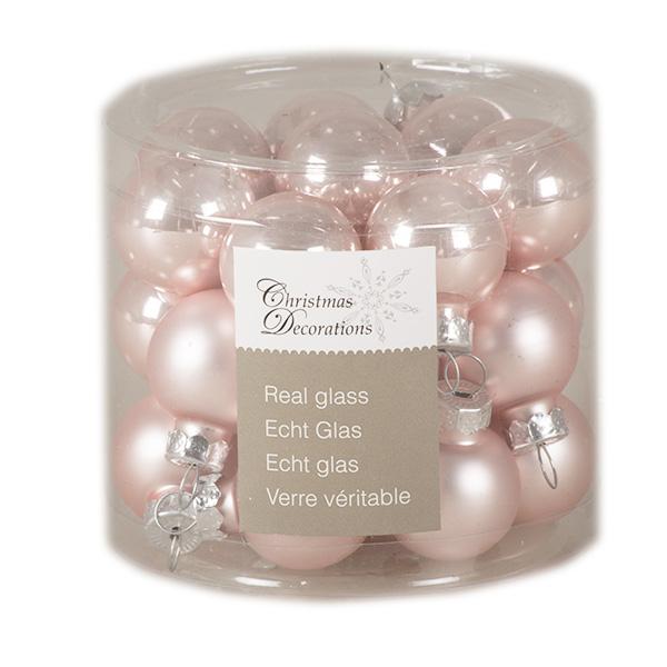 Blush Pink Matt & Shiny Glass Baubles - 24 X 25mm