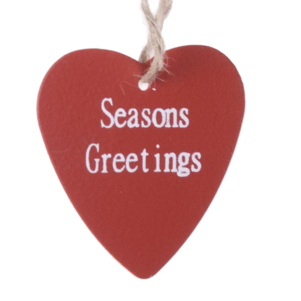 Gisela Graham Red Tin Heart Gift Tags - 4 Pack - 3.5cm (062-15860)