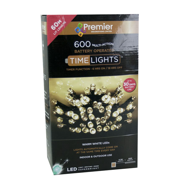 Premier 59.9m Length Of 600 Warm White Outdoor Battery Operated Multiaction LED Fairy Lights With Timer Green Cable