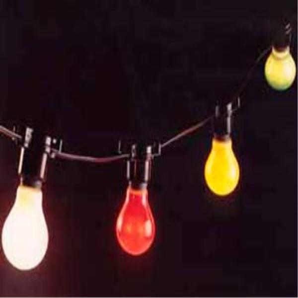 Golf Ball Size Festoon Style Multi Coloured Static Outdoor Lights Black Cable