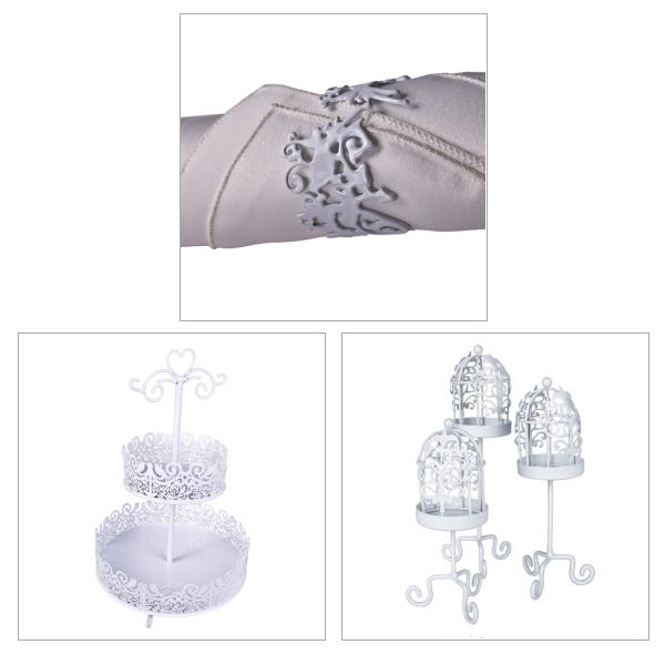 Gisela Graham White Metal Fretwork Lovebirds Collection