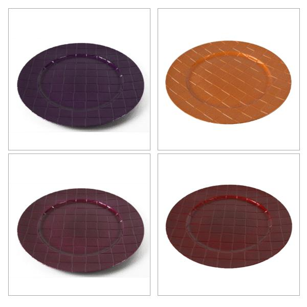 Round Checkered Pattern Charger Plate - 33cm Diameter