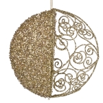 021-13441-GD £7 Round Gold Filigree & Glitter Hanging Decoration -...  Click to view