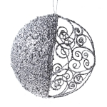 021-13441-SL £7 Round Silver Filigree & Glitter Hanging Decoration...  Click to view