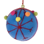 021-15319-BL £2.75 Blue Fabric Snowflake Bauble With Pom Pom Decorati...  Click to view