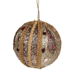021-17829-PL £5 Platinum & Taupe Mirror Beaded Bauble - 100mm...  Click to view