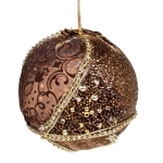 021-17918-BR £5.75 Brown & Gold Fabric & Beaded Bauble - 100mm...  Click to view