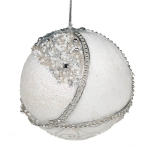 021-17918-SL £5.75 Silver & White Fabric & Beaded Bauble - 100mm...  Click to view