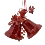 022-12019-RD £8.5 Red Double Bell Decoration With Bow - 100mm...  Click to view