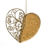 022-13454-GD £5.5 Gold Filligree And Bead Heart Decoration - 11cm...  Click to view