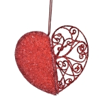 022-13454-RD £5.5 Red Filligree And Bead Heart Decoration - 11cm...  Click to view
