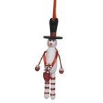 Hanging Wooden Snowman With Black Hat - 13cm