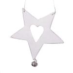 Gisela Graham Cream Wooden Star With Heart Decoration - 10cm
