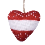 Gisela Graham Hanging Knitted White Hearts Heart Decoration - 9cm