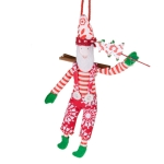 Gisela Graham Hanging Santa With Rosette Pattern Clothing - 12cm