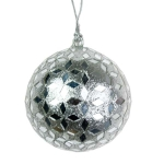 022-20262-SL £4 Silver Mirror Ball Decoration - 80mm...  Click to view