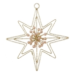 022-21840-GD £4 Gold Glitter & Bead 8 Point Star Hanger - 140mm...  Click to view