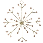 022-21867-GD £3.5 Gold Glitter & Bead Spiky Snowflake Decoration - 1...  Click to view