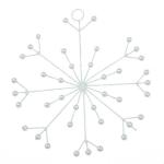 White Glitter & Bead Spiky Snowflake Decoration - 120mm
