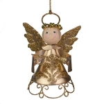 022-21978-GD £4.2 Gold Metal Angel With Crown And Trumpet - 9cm...  Click to view