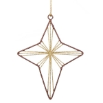 022-21979-GB-ST £2.5 Gold & Brown Star Glittered Wire Decoration - 14cm...  Click to view