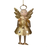 022-21995-GD £4.6 Glittered Gold Metal Angel With Dangly Legs And Ha...  Click to view