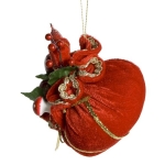 Red And Gold Fabric Sack Hanging Decoration - 10cm X 11cm