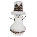 035-21742-23 £12 White Sparkle & Cone Snowman Ornament - 23cm...  Click to view