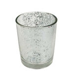 Silver Flecked Glass Tealight Candle Holder - 65mm