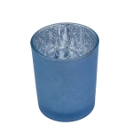 203-22112-BL £1.25 Blue Frosted Flecked Glass Candle Holder - 65mm...  Click to view