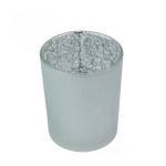 203-22112-SL £1.25 Silver Frosted Flecked Glass Candle Holder - 65mm...  Click to view