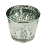 203-24016-SL £2.25 Silver Flecked Chunky Glass Tealight Candle Holder...  Click to view