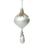 204-21891-WH £4.6 Ornate Onion Shaped Pearl White Hanging Decoration...  Click to view