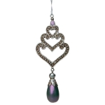 204-21924-PU £3.4 Ornate Iridescent Purple Heart Hanging Trio Decora...  Click to view