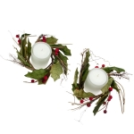 212-07841-CAN £5 Rustic Holly Range - 2 Candlerings with Candles...  Click to view