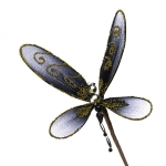 220-06418-BK £2 Black and Gold Net Dragonfly Pick - 15cm Wide...  Click to view