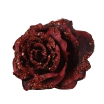 220-13904-DR £1.75 Dark Red Silk Sparkle Rose Clip - 14cm...  Click to view