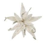 220-17823-IV £5.75 Ivory Glitter Fern Flower On Clip - 17cm...  Click to view