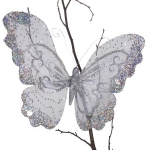 222-13348-SL-LG £4 Silver Glitter & Lace Butterfly On Clip - 36cm x 2...  Click to view