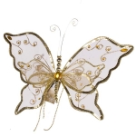 222-15263-35-GD £5 Gold Glitter & Lace Jewelled Butterfly With Beaded...  Click to view