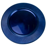 Embossed Bevelled Rim Blue Round Charger Plate - 33cm Diameter