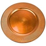 Embossed Bevelled Rim Orange Round Charger Plate - 33cm Diameter