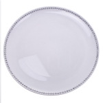 Diamante Edged Rimless Round White Charger Plate - 33cm Diameter